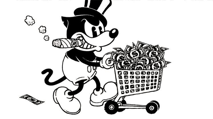 Felix the cat pushes a trolley of money while smoking a cigar