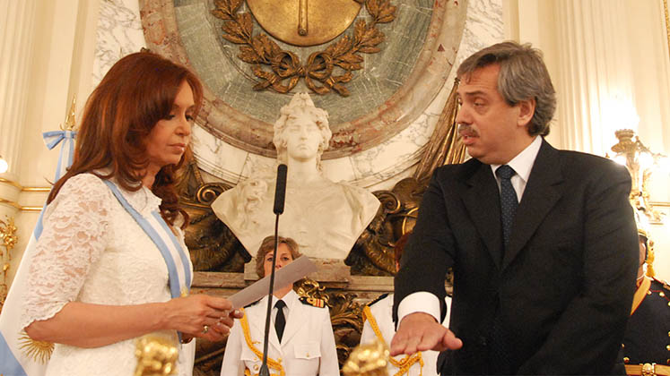 Alberto Fernández is sworn in as a minister by then president Cristina Fernández de Kirchner