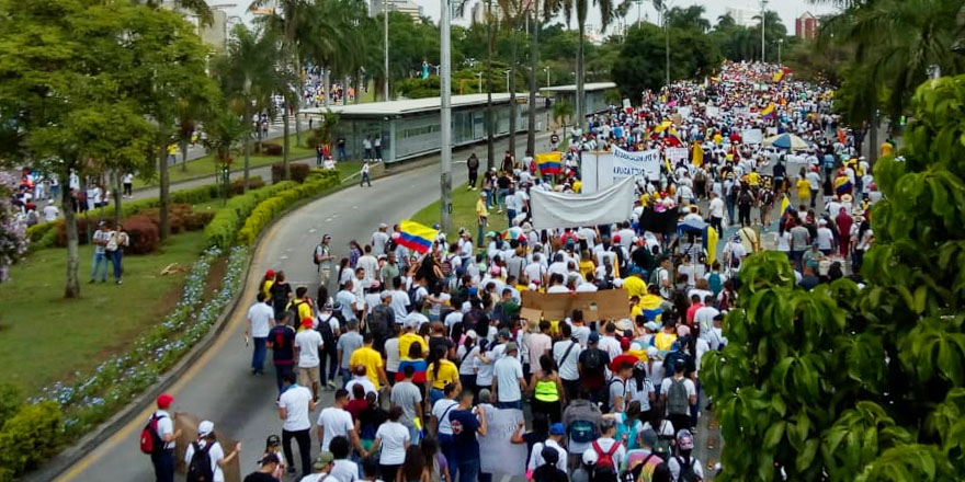 A protest march weaves its way through Cali, Colombia, in late November 2019