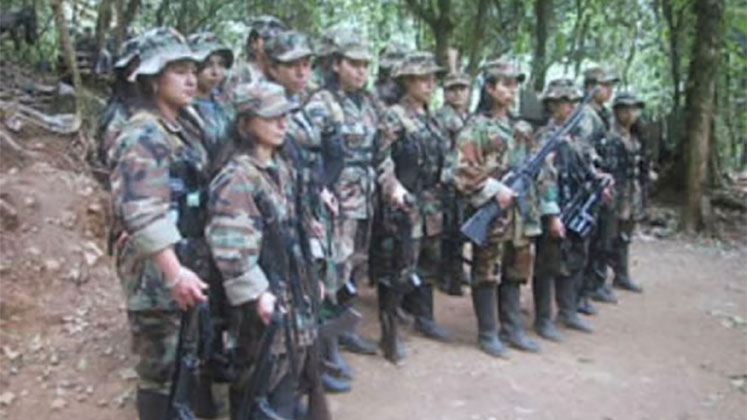 A group of female FARC combatants during peace talks at the turn of the century