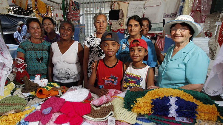 A group of beneficiaries of the Bolsa Familia programme in Brazil