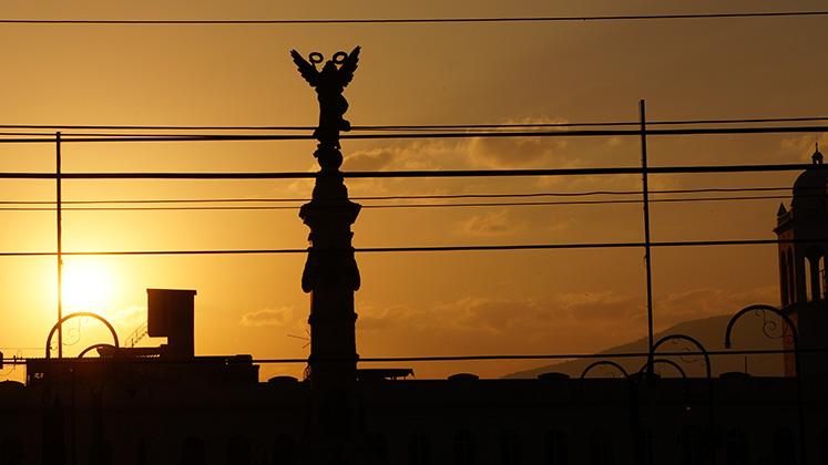 Sunrise over Plaza de la Libertad in San Salvador, El Salvador
