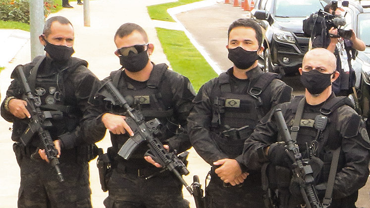 Heavily armed members of the Special Operations Division line up in Brasilia