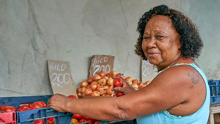 A fruit and veg seller in Duque de Caxias, Rio de Janeiro, Brazil