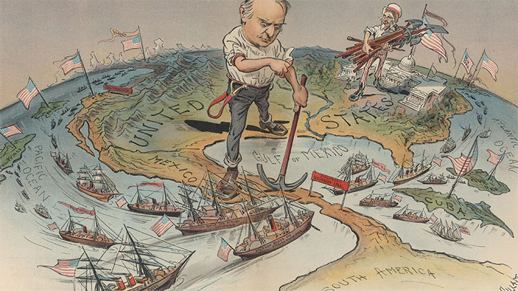 An imperialist cartoon depicting the US striding towards Latin America following the Spanish American War