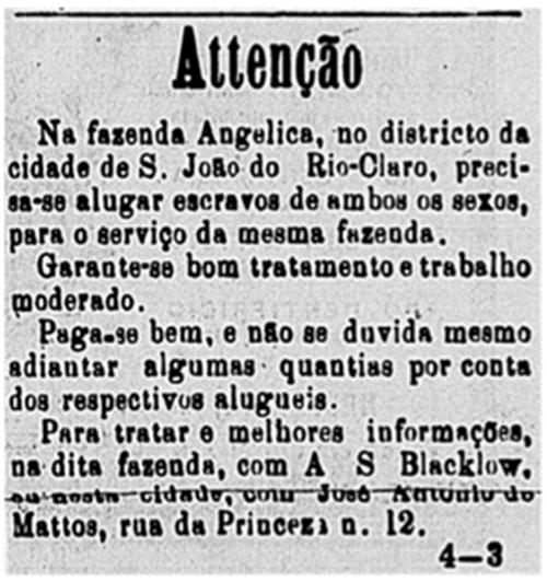 An advert seeking slave labour for the Angelica plantation, from Diario de Sao Paulo, 20 May 1877
