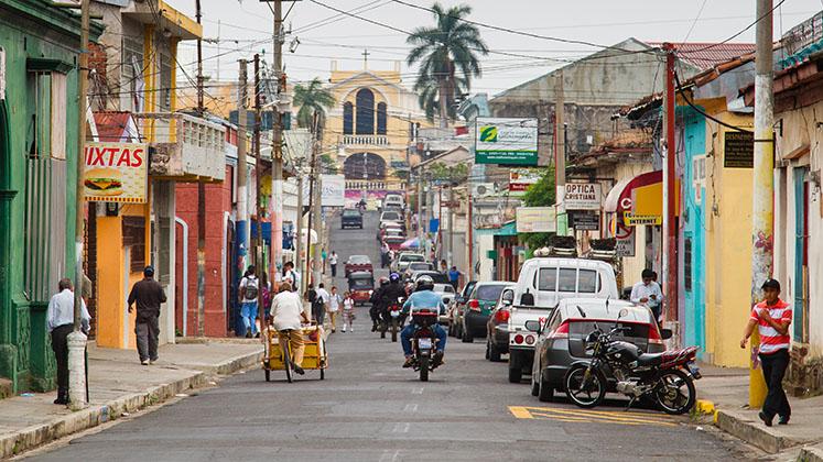 A busy street in Santa Ana, El Salvador