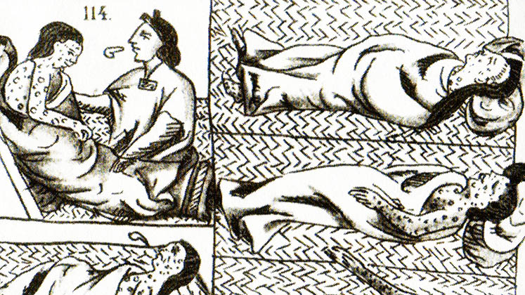 Aztecs suffering from smallpox in drawings from the Florentine Codex