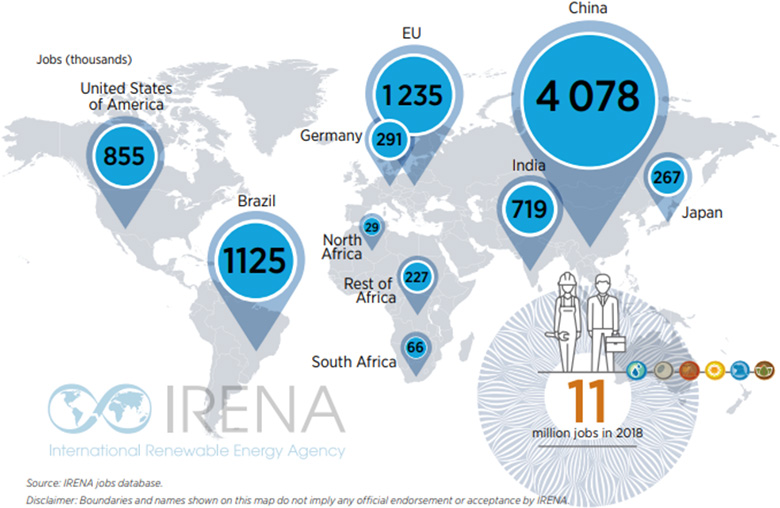 International Renewable Energy Agency map showing the growth of green jobs around the world