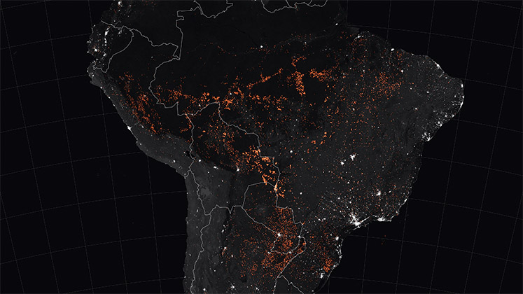 Amazon fires in South America in 2019, seen from space
