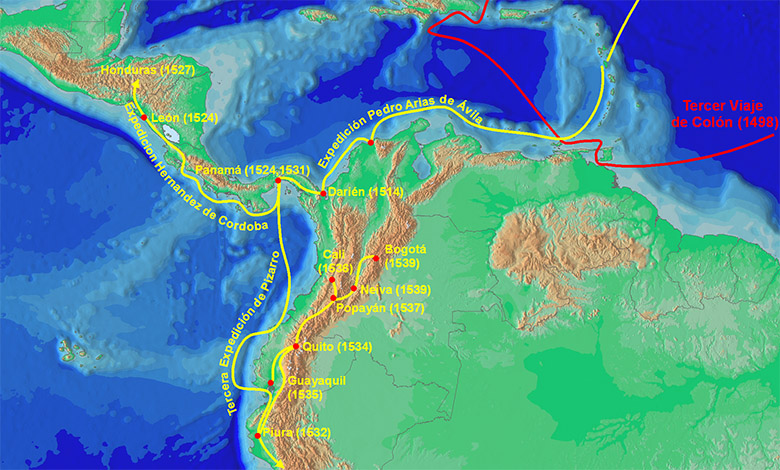 Belalcazar's route around South and Central America in the late 15th and early 16th centuries