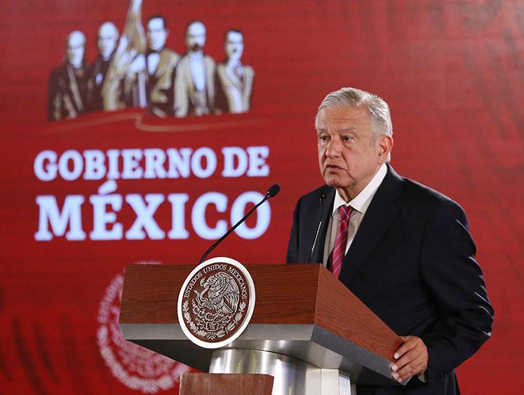 Andrés Manuel López Obrador gives a press conference in Mexico City