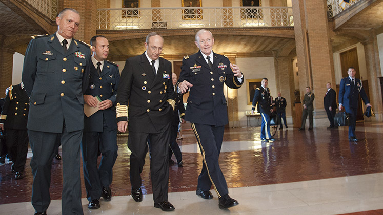 18th Chairman of the Joint Chiefs of Staff Gen. Martin E. Dempsey (right) welcomes Mexico's Secretary of National Defense General Salvador Cienfuegos Zepeda (left) to the National Defense University on Fort McNair, Washington DC