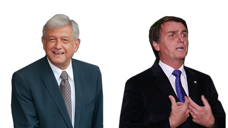Mexico's AMLO and Brazil's Jair Bolsonaro, collage from two separate images