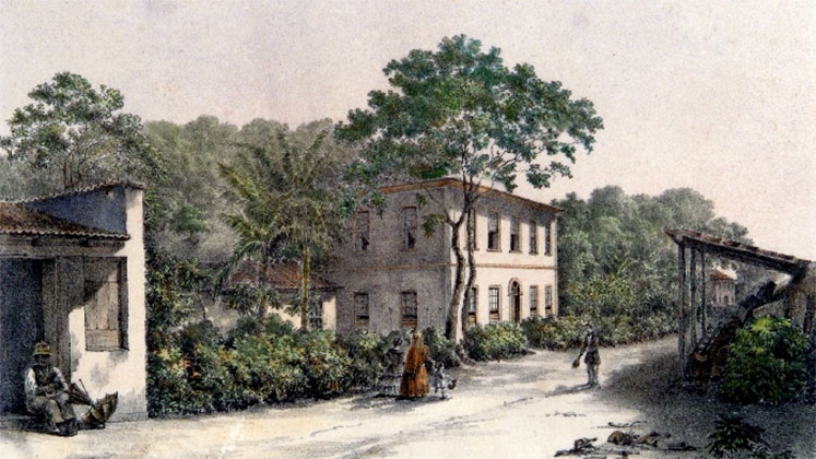 A 19th-century painting depicting the British-owned Chácara de Russel estate in Rio de Janeiro