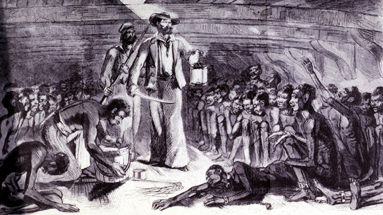 A painting of slaves below deck on the Gloria during the Middle Passage
