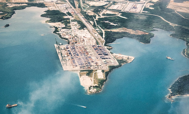 An aerial view of the port of Mariel in Cuba