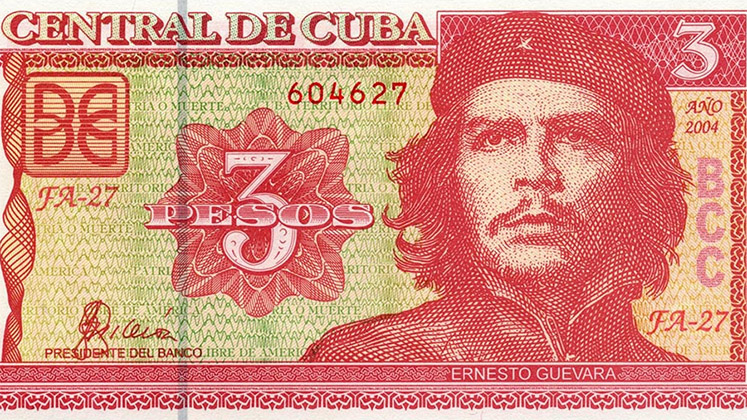 A detail of a Cuban three-peso note featuring Che Guevara