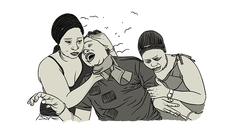 Drawing of a keening woman supported by two other women
