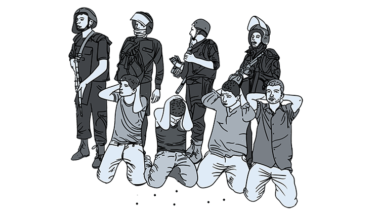 Drawing of young men kneeling with hands behind their heads in front of riot police