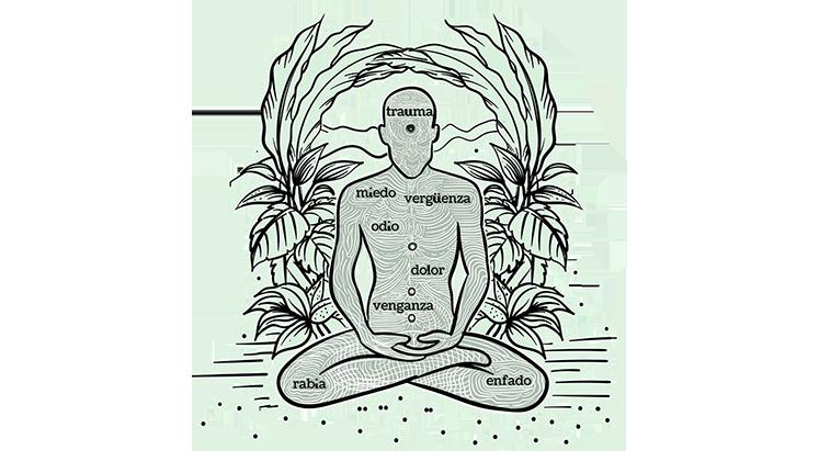 Dibujo de una persona meditando