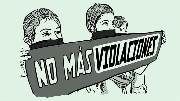 Dibujo de tres mujeres con una pancarta que dice 'No más violaciones'