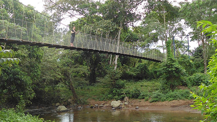 A bridge over a non-flooded riverbed in rural Nicaragua is surveyed by an intrepid research assistant