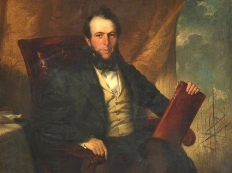 A portrait of John Bramley-Moore holding a book with a ship at sea in the background
