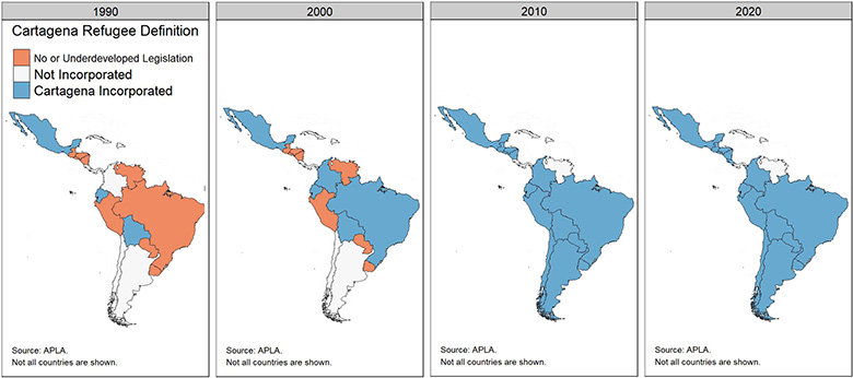 Series of maps showing the gradual adoption of the Cartagena refugee definition across Latin America, 1990-2020