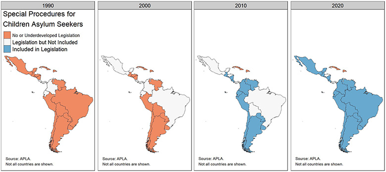 Series of maps showing counties of Latin America with special procedures for child asylum seekers, 1990-2020