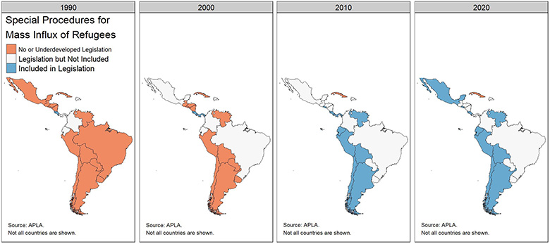 Series of maps showing counties of Latin America with special procedures for a mass influx of refugees, 1990-2020