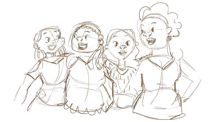 A rough sketch of a group of Colombian women who migrated to Chile (©2021, Alice Volpi)