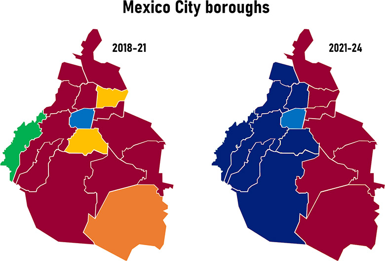 Map showing changes in Mexico City boroughs by party after Mexico's 2021 elections