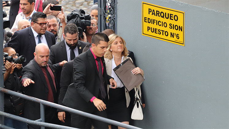 Costa Rica's attorney general Emilia Navas arrives at the Legislative Assembly in 2017