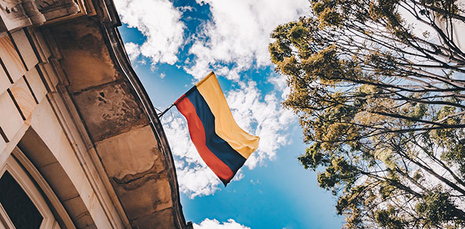 colombian flag over building