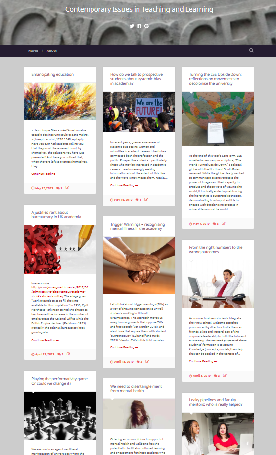The homepage of the The Contemporary Issues in Teaching and Learning blog