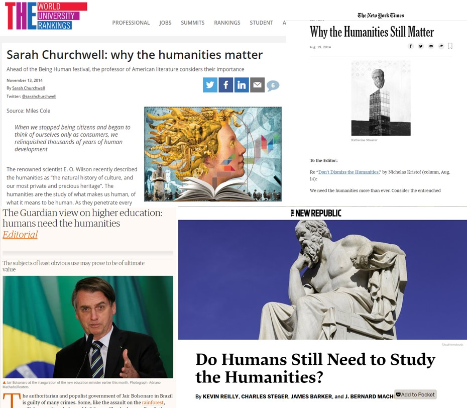 Headlines from different newspapers and websites about need for humanities