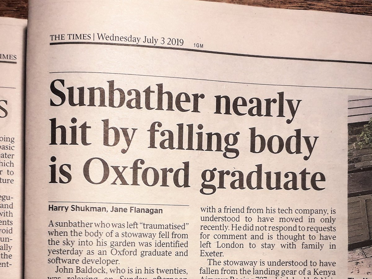 "Newspaper headline: ""Sunbather nearly hit by falling body is Oxford graduate"""