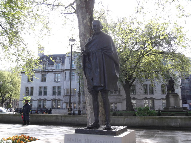 The statue of Mahatma Gandhi In Parliament Square, London