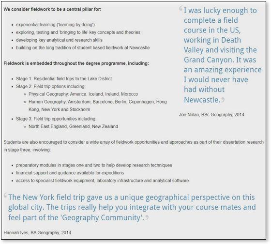 screengrab of a Newcastle uni webpage