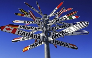 signpost pointing to many different countries