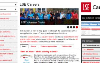 screenshot of Careers website