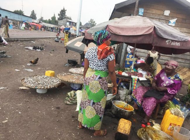 Small-scale merchants selling various goods along the Katoyi-Majengo Road, Goma, DRC