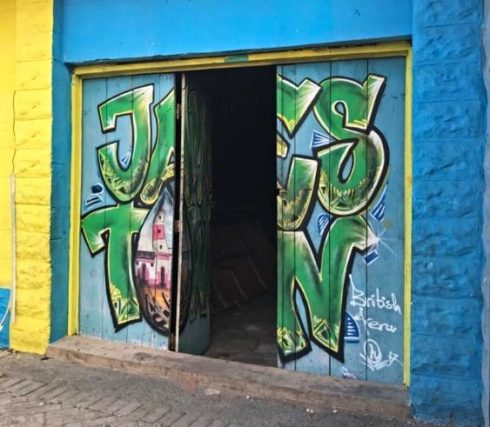 Entrance to Jamestown Community Centre with graffiti in Accra, Ghana