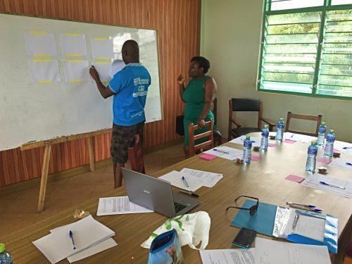 Assistants in a school classroom preparing interactive materials for focus groups.