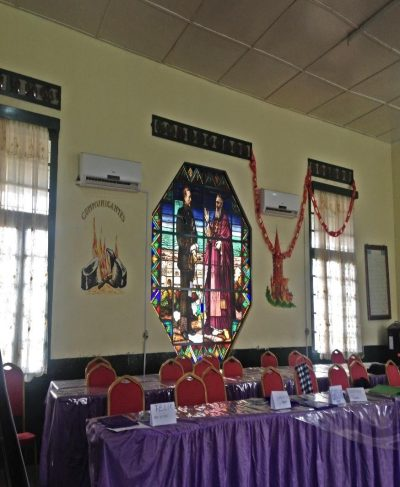 Saint Joseph convent teaching room with with mosaic portraits of Albert I of Belgium and Cardinal Lavigerie