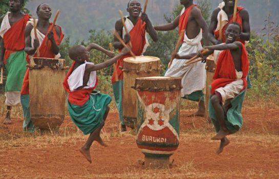 Men playing the burundian drums