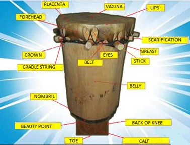 Parts of a Burundian drum