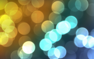 picture of fuzzy circular lights in blue and yellow tones