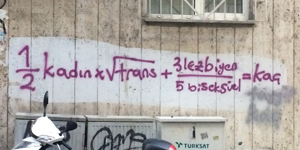 Graffiti on a wall in the form of a mathematical formula, text in Turkish.